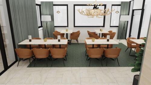 Jaktrummet, 3d ritning. Här i restaurangdukning. Rummet möbleras om till konferens vid bokning. Stor tv kommer att finnas tillgänglig för presentationer.